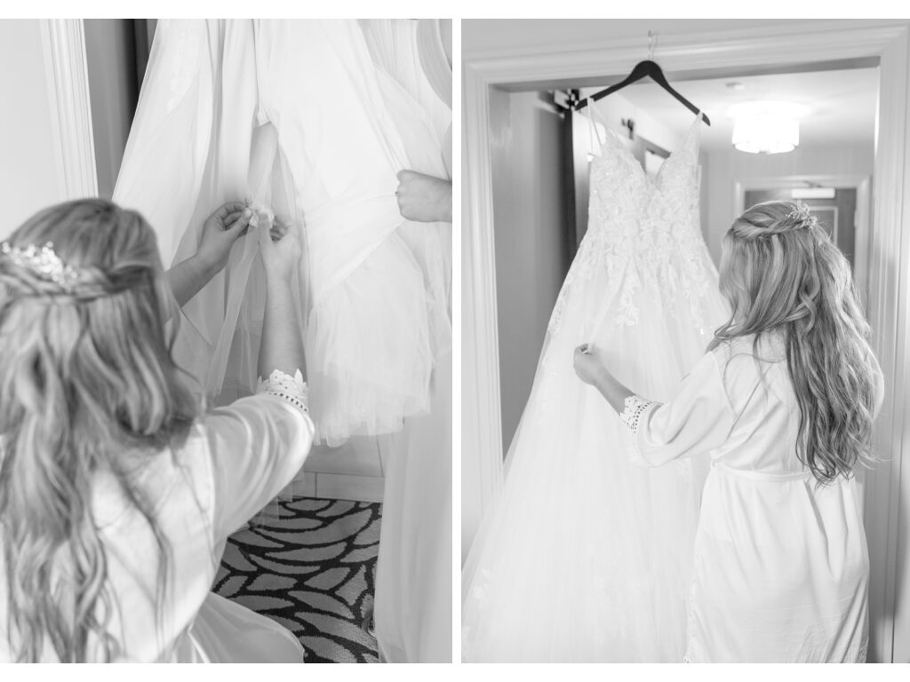 looking at wedding dress